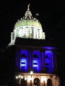 Blue lights for prostate cancer awareness shine on the Lt. Governor's office in September 2014.